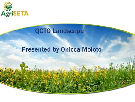 The QCTO Landscape Presented by Onicca Moloto. Presentation Outline  1. QCTO Mandate  2. QCTO Partnerships.  3. The New proposed NQF Landscape.  4.