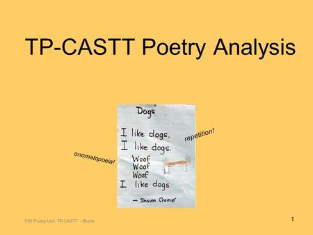 TP-CASTT Poetry Analysis 1/09 Poetry Unit: TP-CASTT - Blume 1 repetition! onomatopoeia!