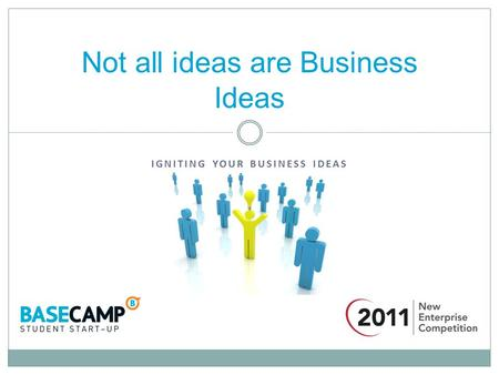 IGNITING YOUR BUSINESS IDEAS Not all ideas are Business Ideas.