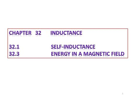 CHAPTER 32 inductance 32.1 Self-Inductance 32.3 Energy in a Magnetic Field.