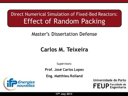 Master's Dissertation Defense Carlos M. Teixeira Supervisors: Prof. José Carlos Lopes Eng. Matthieu Rolland Direct Numerical Simulation of Fixed-Bed Reactors: