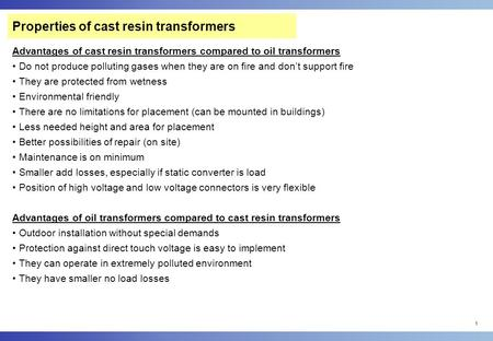 Properties of cast resin transformers