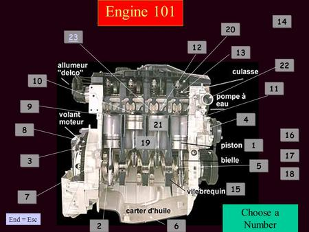 Engine 101 1 2 3 4 5 6 7 8 9 10 12 11 13 14 15 16 17 18 19 20 22 21 Choose a Number 23 End = Esc.