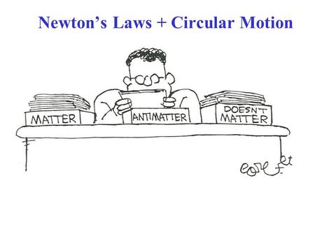 Newton's Laws + Circular Motion. Sect. 5-2: Uniform Circular Motion; Dynamics A particle moving in uniform circular motion at radius r, speed v = constant: