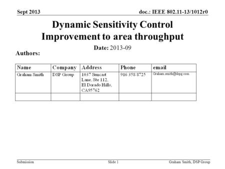 Doc.: IEEE 802.11-13/1012r0 Submission Sept 2013 Dynamic Sensitivity Control Improvement to area throughput Date: 2013-09 Authors: Graham Smith, DSP GroupSlide.
