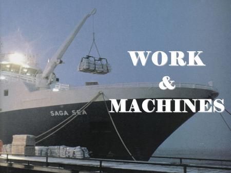 WORK &MACHINES. ENDURING UNDERSTANDINGS Work is done when an object moves in the direction of applied forceWork is done when an object moves in the direction.