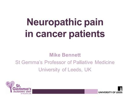 Neuropathic pain in cancer patients