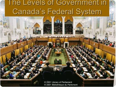 The Levels of Government in Canada's Federal System.