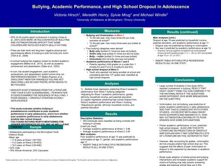 Bullying, Academic Performance, and High School Dropout in Adolescence Victoria Hirsch 1, Meredith Henry, Sylvie Mrug 1 and Michael Windle 2 1 University.