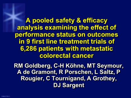 CM923700-1 A pooled safety & efficacy analysis examining the effect of performance status on outcomes in 9 first line treatment trials of 6,286 patients.