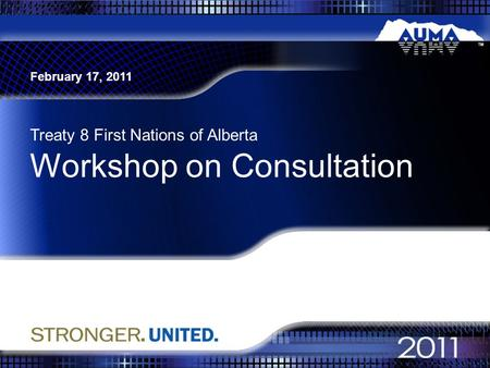 Workshop on Consultation Treaty 8 First Nations of Alberta February 17, 2011.