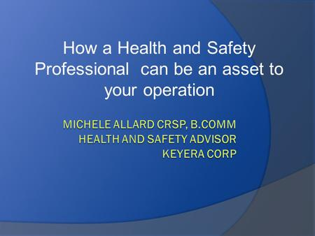 How a Health and Safety Professional can be an asset to your operation.