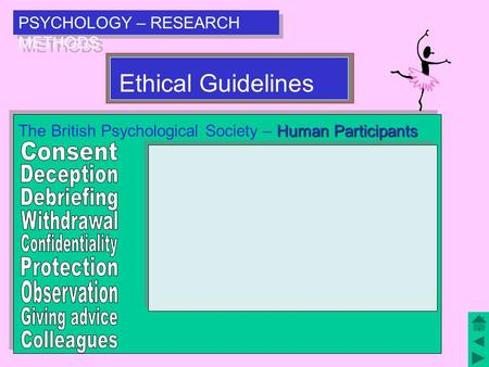 PSYCHOLOGY – RESEARCH METHODS Ethical Guidelines Human Participants The British Psychological Society – Human Participants.
