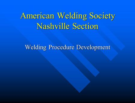 American Welding Society Nashville Section