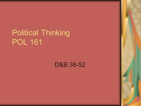 Political Thinking POL 161 D&B 38-52. Alexis de Tocqueville - Democracy in America Tocqueville was a French aristocrat that traveled the US in the early.