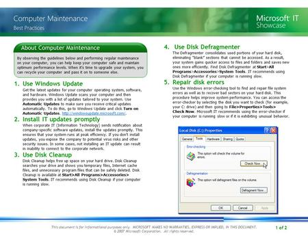 1 of 2 By observing the guidelines below and performing regular maintenance on your computer, you can help keep your computer safe and maintain optimum.
