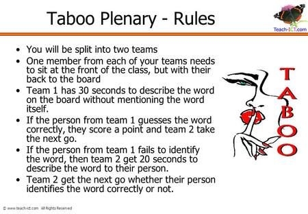 Taboo Rules Form 2 Teams Determine Which Team Goes First By A Coin