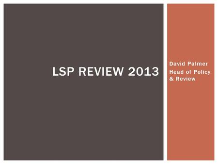 David Palmer Head of Policy & Review LSP REVIEW 2013.