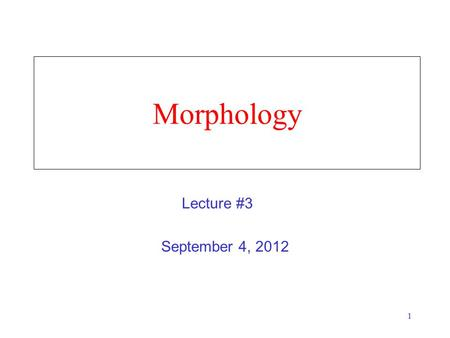 1 Morphology September 4, 2012 Lecture #3. 2 What is Morphology? The study of how words are composed of morphemes (the smallest meaning-bearing units.