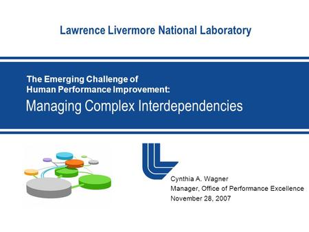 Lawrence Livermore National Laboratory Managing Complex Interdependencies Cynthia A. Wagner Manager, Office of Performance Excellence November 28, 2007.