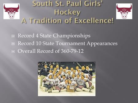 Record 4 State Championships  Record 10 State Tournament Appearances  Overall Record of 360-79-12.