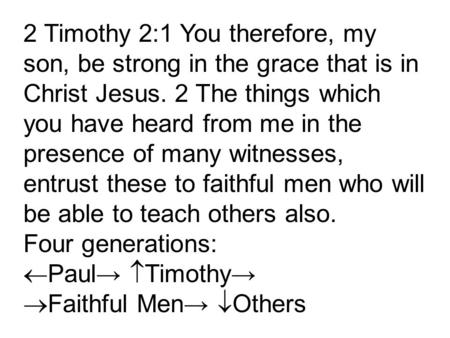 2 Timothy 2:1 You therefore, my son, be strong in the grace that is in Christ Jesus. 2 The things which you have heard from me in the presence of many.