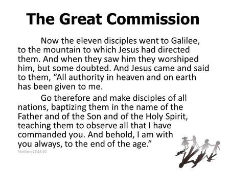 The Great Commission Now the eleven disciples went to Galilee, to the mountain to which Jesus had directed them. And when they saw him they worshiped him,