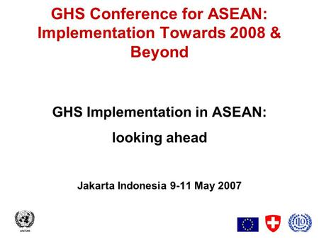 1 GHS Conference for ASEAN: Implementation Towards 2008 & Beyond GHS Implementation in ASEAN: looking ahead Jakarta Indonesia 9-11 May 2007.