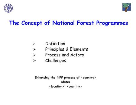The Concept of National Forest Programmes Enhancing the NFP process of,  Definition  Principles & Elements  Process and Actors  Challenges.