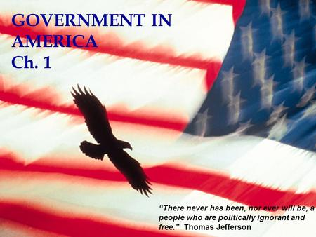 GOVERNMENT IN AMERICA Ch. 1
