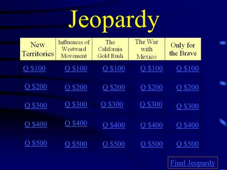 Jeopardy Q $100 Q $200 Q $300 Q $400 Q $500 Q $100 Q $200 Q $300 Q $400 Q $500 Final Jeopardy.