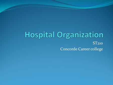 ST210 Concorde Career college. Objectives List the types of healthcare facilities and the sources of funds for each Describe the organizational structure.