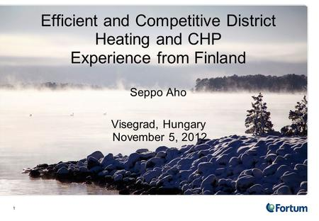 1 Efficient and Competitive District Heating and CHP Experience from Finland Seppo Aho Visegrad, Hungary November 5, 2012.