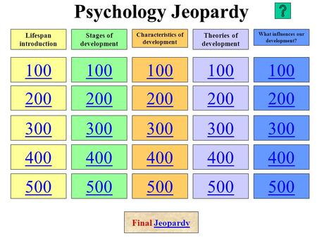 Psychology Jeopardy 100 200 300 400 500 100 200 300 400 500 100 200 300 400 500 100 200 300 400 500 100 200 300 400 500 Lifespan introduction Stages of.