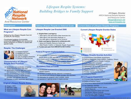Lifespan Respite Systems: Building Bridges to Family Support Jill Kagan, Director ARCH National Respite Network and Resource Center