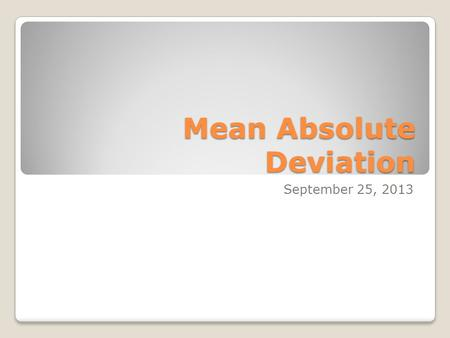 how to find absolute deviation