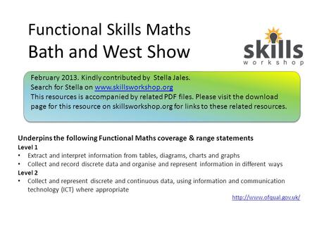 Functional Skills Maths Bath and West Show Underpins the following Functional Maths coverage & range statements Level 1 Extract and interpret information.