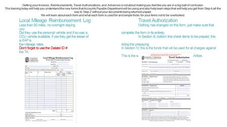 Local Mileage Reimbursement LogTravel Authorization Less than 50 miles, no overnight staying Nothing has changed on this form, just make sure that you.