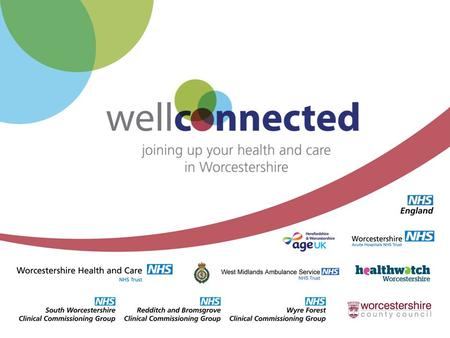 Well Connected: History Arose out of Acute Services Review Formal collaboration between WCC, all local NHS organisations, Healthwatch and voluntary sector.