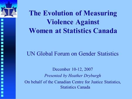 The Evolution of Measuring Violence Against Women at Statistics Canada UN Global Forum on Gender Statistics December 10-12, 2007 Presented by Heather Dryburgh.