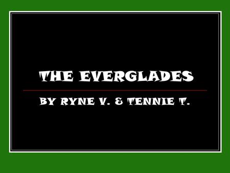 THE EVERGLADES BY RYNE V. & TENNIE T.. The Everglades The everglades are an open field covered with saw grass, trees, rivers, & wild life. The Everglades.