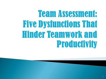 Team Assessment: Five Dysfunctions That Hinder Teamwork and Productivity February 1, 2006.