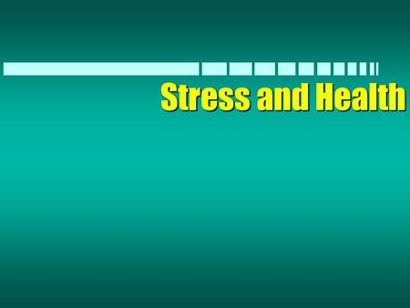 Stress and Health. Stress Facts n The American Academy of Family Physicians estimates that 60% of the problems brought to physicians in the U.S. are stress.