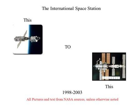 The International Space Station TO This 1998-2003 All Pictures and text from NASA sources, unless otherwise noted.