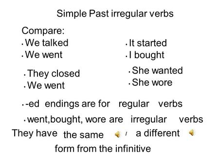 Simple Past irregular verbs Compare: We talked We went It started I bought They closed We went She wanted She wore -ed endings are forregular verbs went,bought,