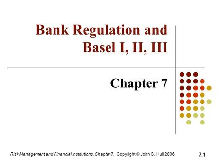 Bank Regulation and Basel I, II, III