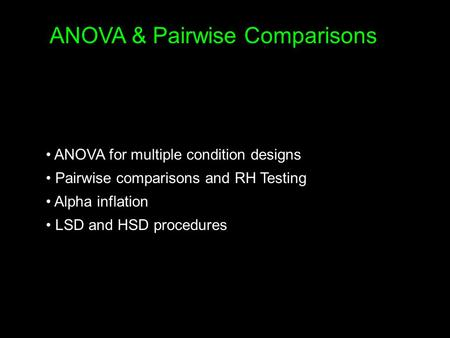 ANOVA & Pairwise Comparisons
