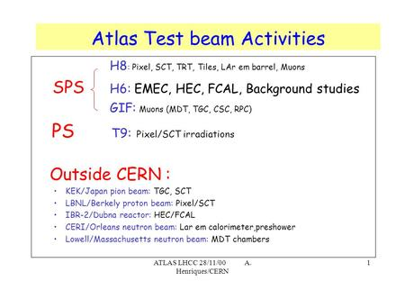 ATLAS LHCC 28/11/00 A. Henriques/CERN 1 H8 : Pixel, SCT, TRT, Tiles, LAr em barrel, Muons SPS H6: EMEC, HEC, FCAL, Background studies GIF: Muons (MDT,