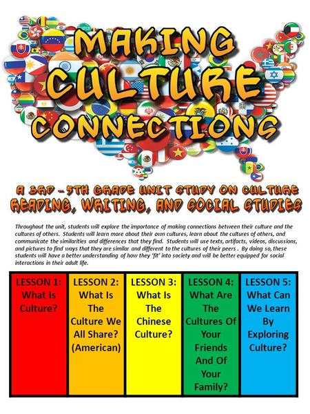 LESSON 1: What Is Culture? LESSON 2: What Is The Culture We All Share? (American) LESSON 3: What Is The Chinese Culture? LESSON 4: What Are The Cultures.