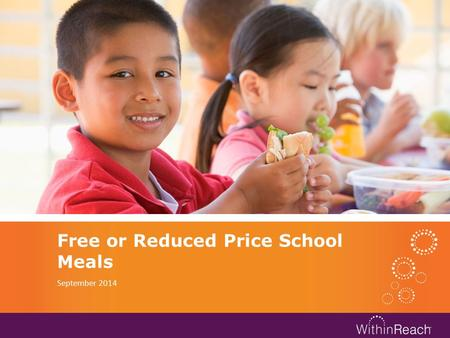 Free or Reduced Price School Meals September 2014.